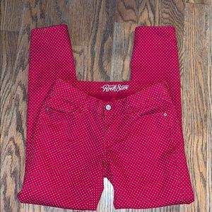 OLD NAVY Rockstar red with gold polka dots 8